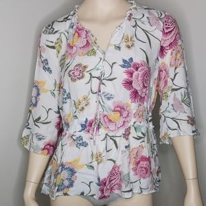 Tribal Jeans BoHo Floral Garden Split Neck Blouse
